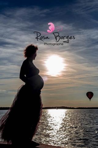 photographie professionnelle, femme enceinte, couché de soleil